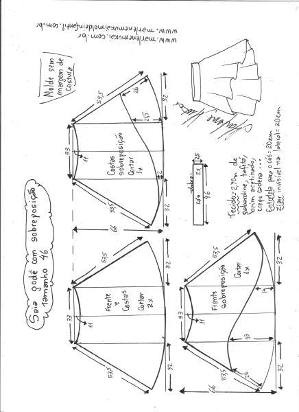 Esquema de modelagem de saia godê com sobreposição tamanho 46.