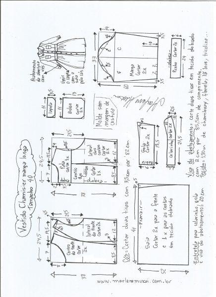 Esquema de modelagem  vestido chamesier manga longa saia franzida tamanho 40.
