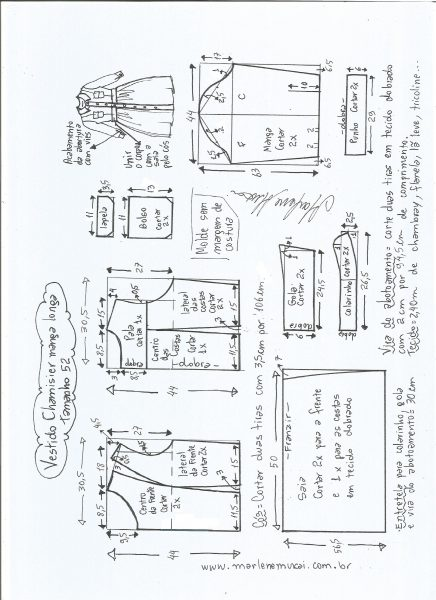 Esquema de modelagem  vestido chamesier manga longa saia franzida tamanho 52.