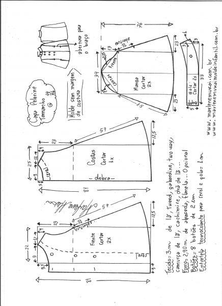 Esquema de modelagem de Capa pelerine tamanho G.
