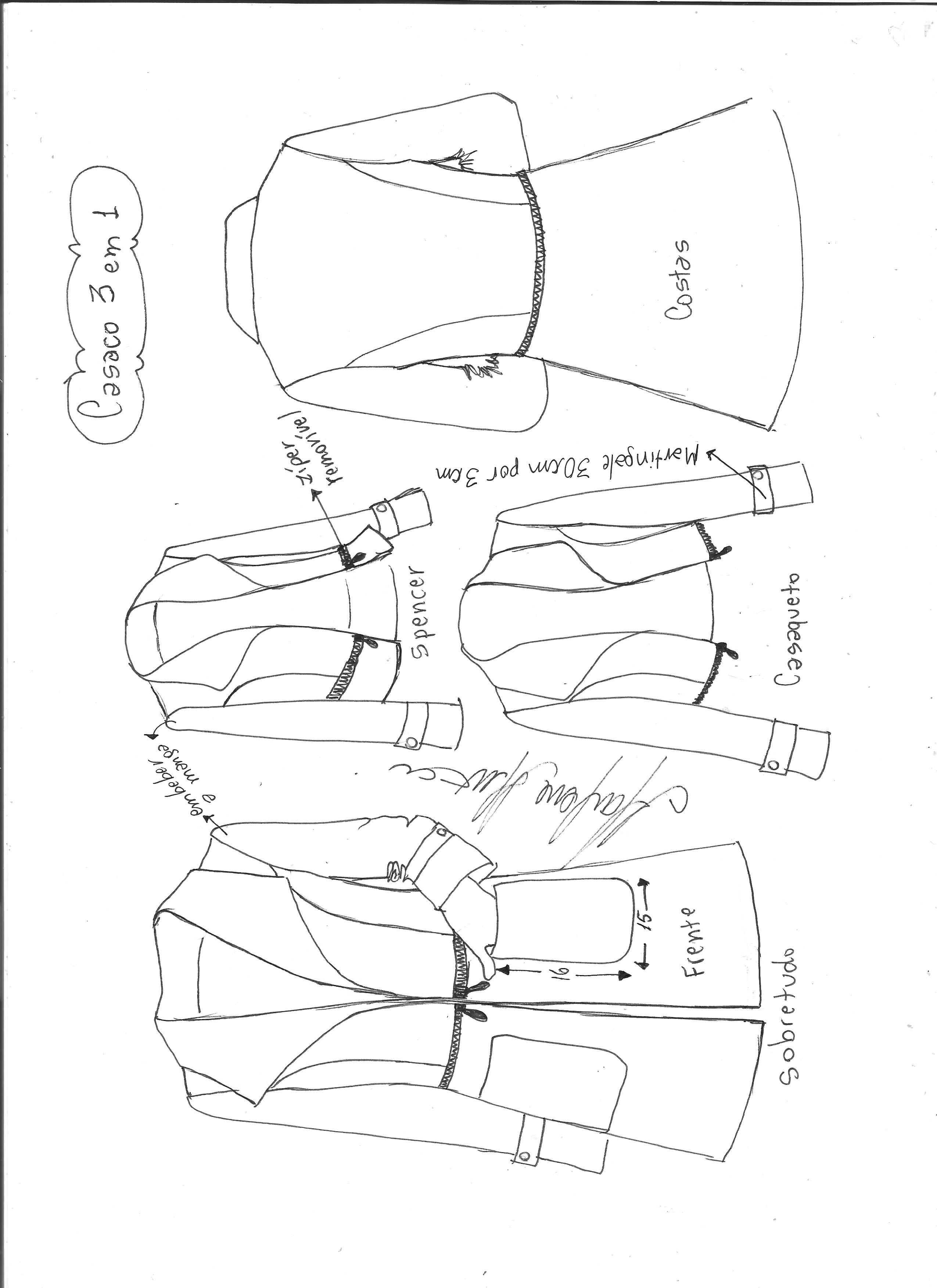 9fceeaa7a Croqui do modelo do casaco 3 em 1.
