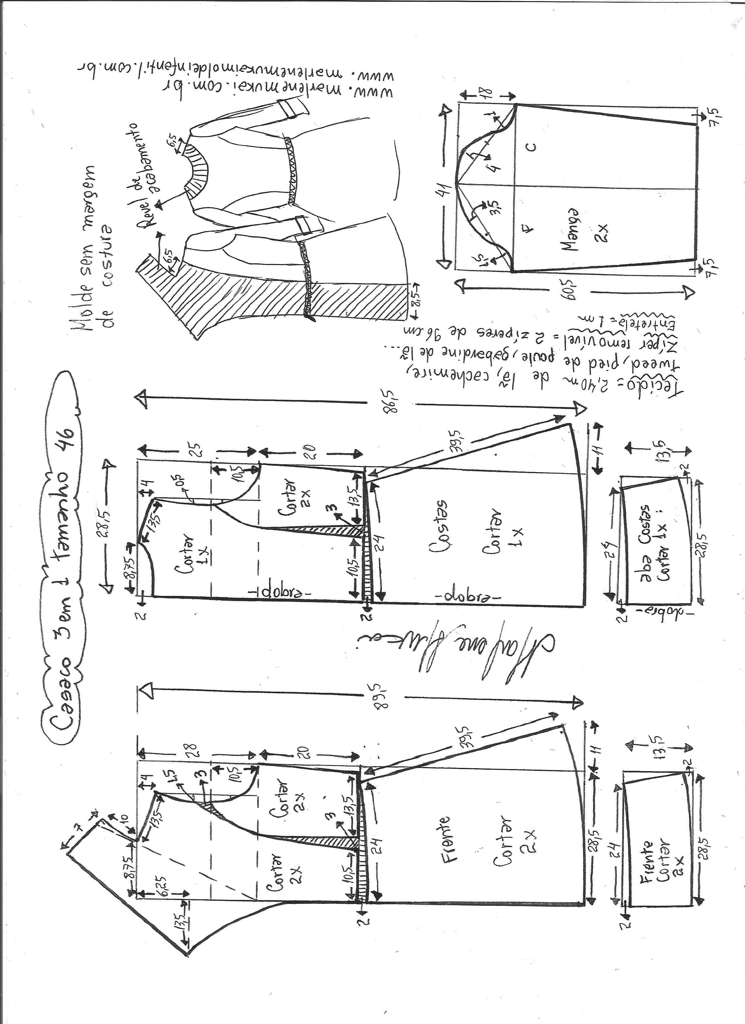 0133b5c12 Esquema de modelagem de casaco três em um 46.