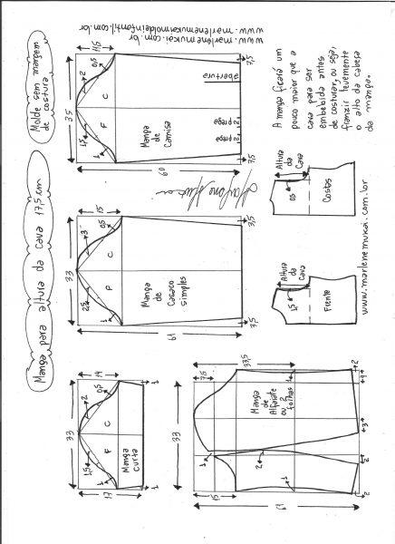 Esquema de modelagem de mangas curta, de casaco, camisa e alfaiate para altura de cava de  17,5 cm.