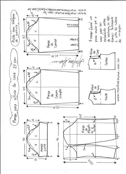 Esquema de modelagem de mangas curta, de casaco, camisa e alfaiate para altura de cava de 21 cm.