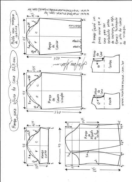 Esquema de modelagem de mangas curta, de casaco, camisa e alfaiate para altura de cava de 22,5 cm.