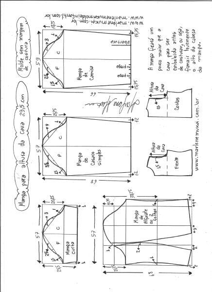 Esquema de modelagem de mangas curta, de casaco, camisa e alfaiate para altura de cava de 29,5 cm.