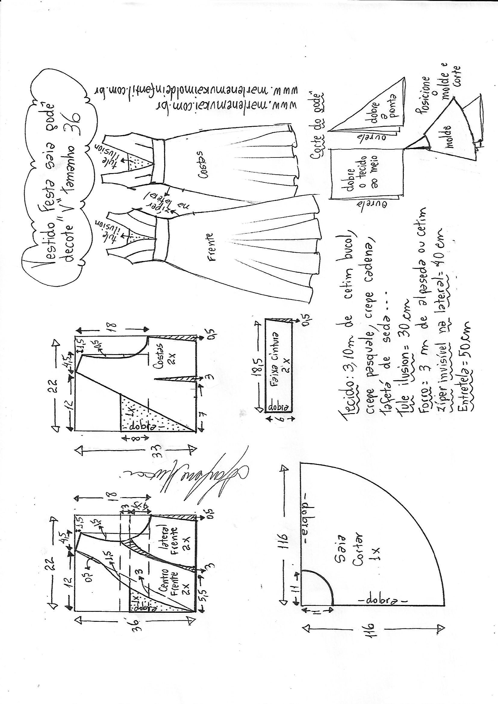 41a43706c7 Esquema de modelagem de vestido godê com decote V tamanho 36.