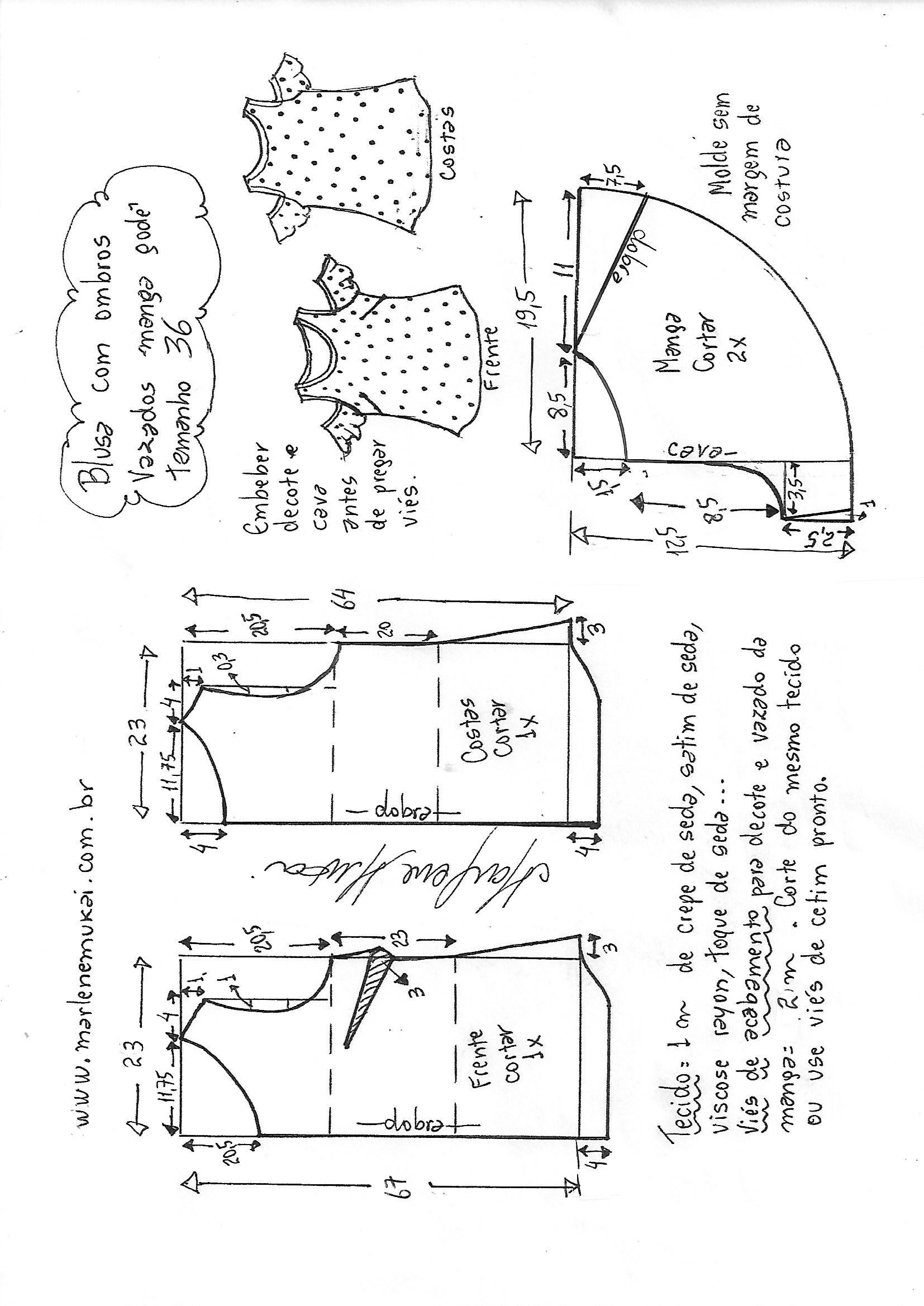 3cc312d55cf711 Blusa ombros vazados com manga godê   DIY - molde, corte e costura ...