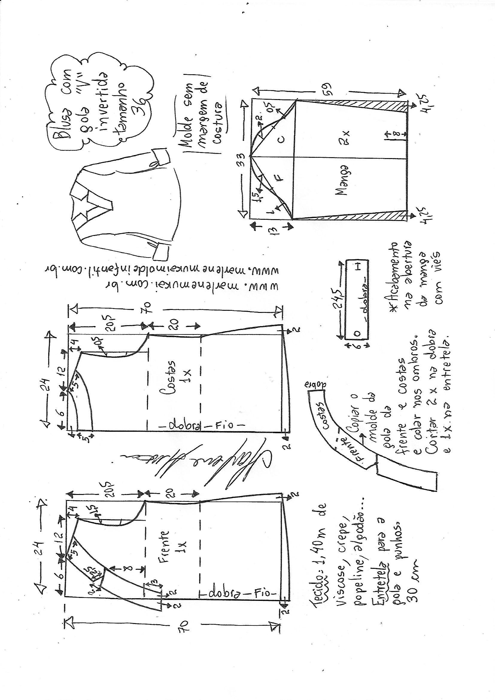 4409a92202 Esquema de modelagem de blusa gola V invertida 36.