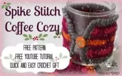 Spike Stitch Coffee Cozy Free Pattern from MarlyBird.com