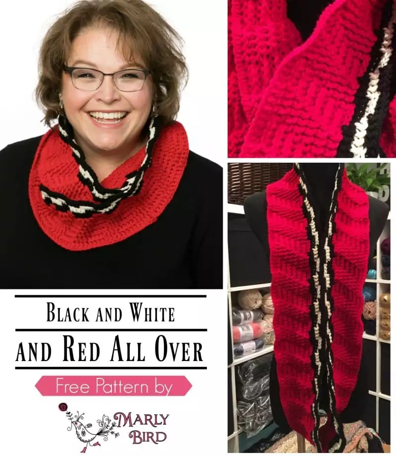 Free Pattern Friday Black and White and Red All Over Cowl by Marly Bird. Shallow Post Stitches.