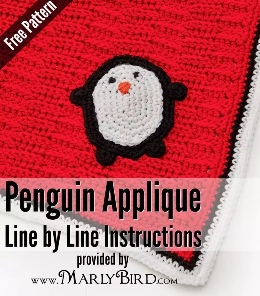 Playful Penguin Blanket Applique Pattern / Line by Line Instructions and Video Tutorial by Marly Bird