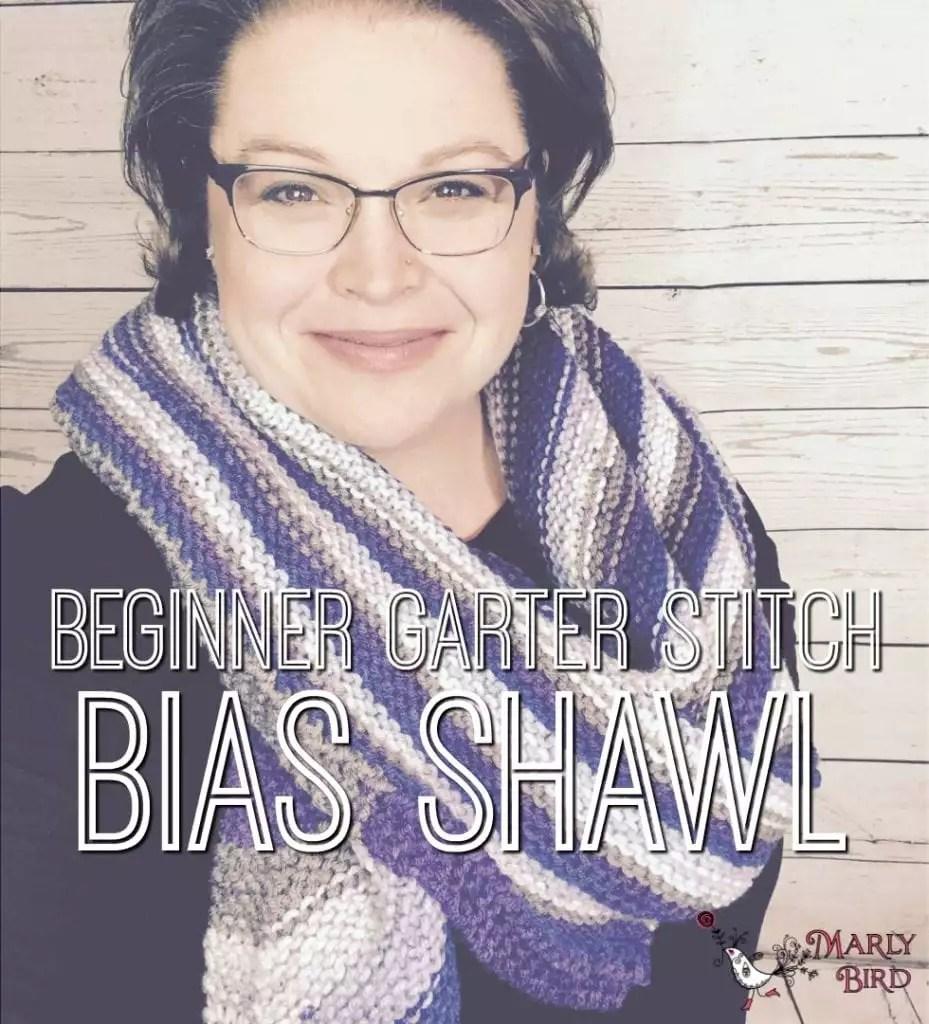 Beginner Garter Stitch Bias Shawl Tutorial