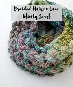 Free Knit and Crochet Winter Fun Patterns-Braided Hairpin Lace Infinity Scarf