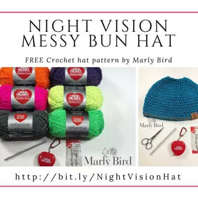 FREE Crochet Messy Bun Hat using Red Heart Reflective Yarn