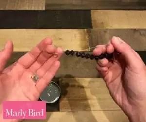 DIY Scrap Yarn Bracelet Photo Tutorial-Finishing Beaded Section
