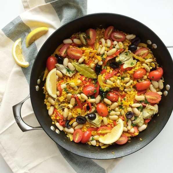 paella vegetarienne sans fruits de mer