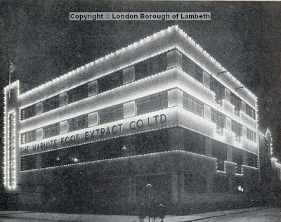 View showing the floodlit premises of The Marmite Food Extract Company,