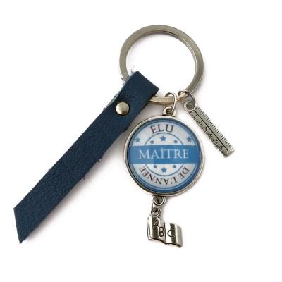 Porte clé «élu maître de l'année» cuir bleu marine