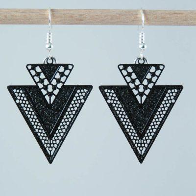 Boucles d'oreilles estampes géométriques noires