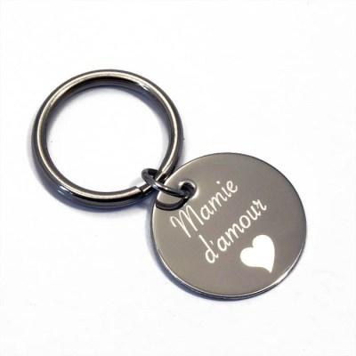 Porte clé personnalisé rond mamie