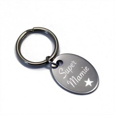 Porte-clés personnalisé ovale mamie