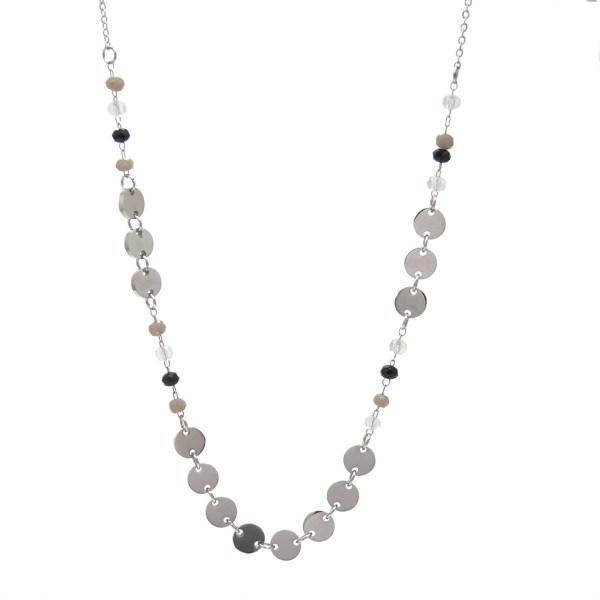 Collier pendentif pampilles et perles à facettes, acier inox.