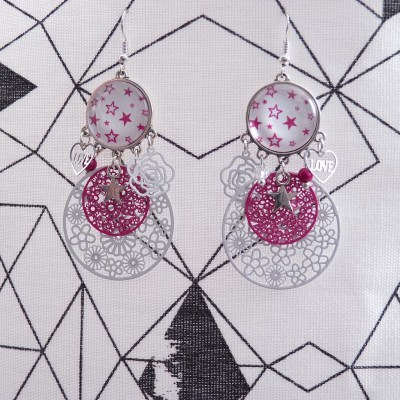 Boucles d'oreilles cabochons étoiles roses et blanches