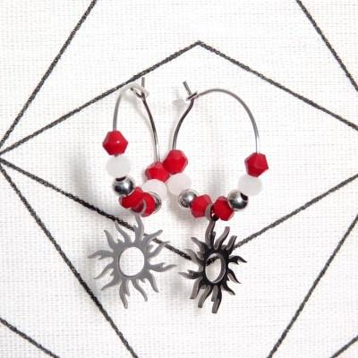 Boucles d'oreilles petites créoles soleil