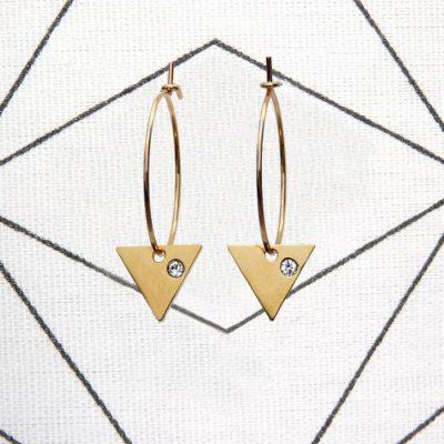 Boucles d'oreilles petites créoles triangles