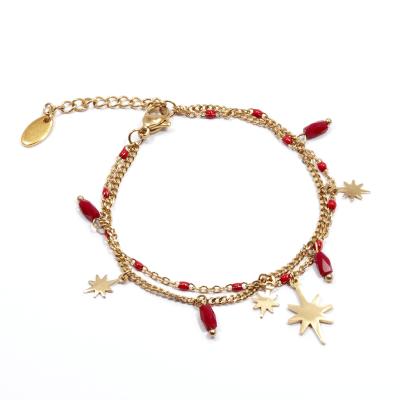 Bracelet étoiles polaires rouge
