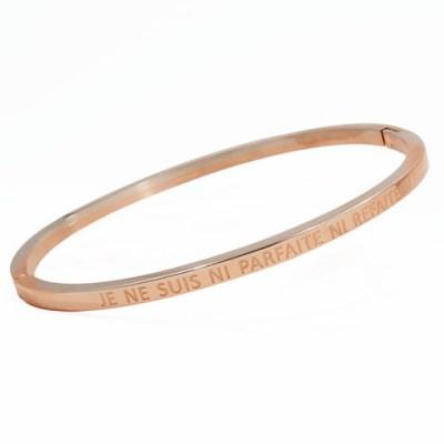 Bracelet jonc or rose «JE NE SUIS NI PARFAITE NI REFAITE»
