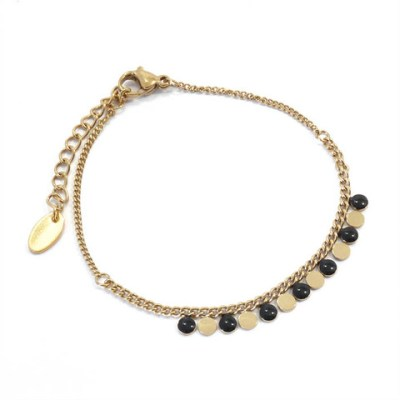Bracelet ronds noirs et dorés