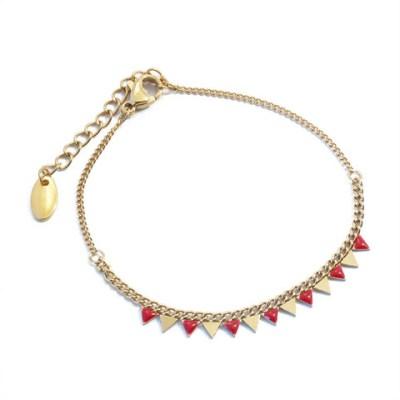 Bracelet triangles rouges et dorés