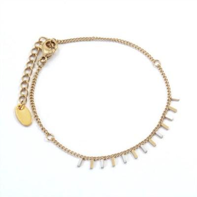 Bracelet rectangles blancs et dorés
