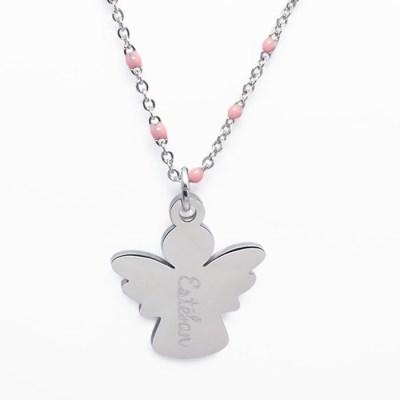 Collier pendentif enfant personnalisé ange rose