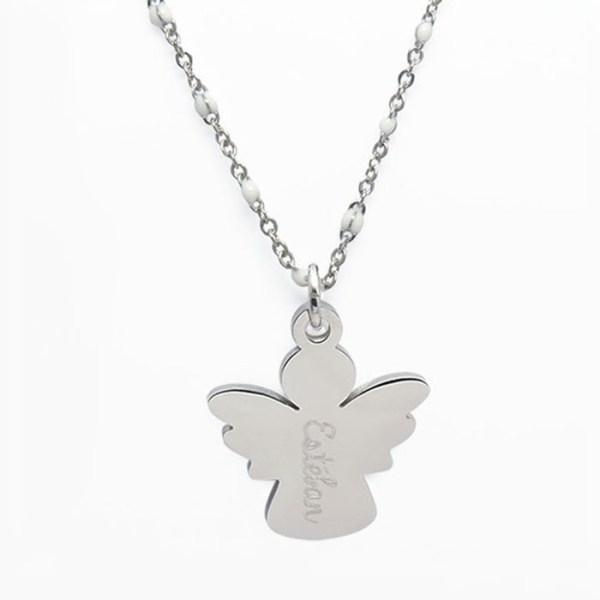 Collier pendentif ange acier inoxydable à personnaliser.
