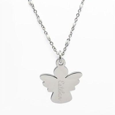 Collier pendentif enfant personnalisé ange blanc