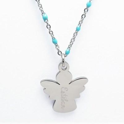 Collier pendentif enfant personnalisé ange bleu