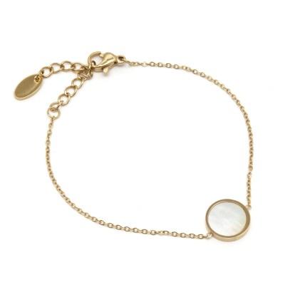 Bracelet rond nacré en acier inoxydable doré