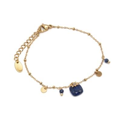 Bracelet pampilles perles bleues et étoile