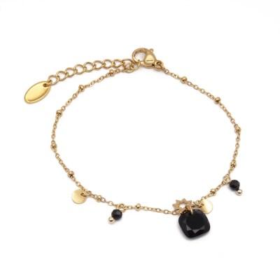 Bracelet pampilles perles noires et étoile