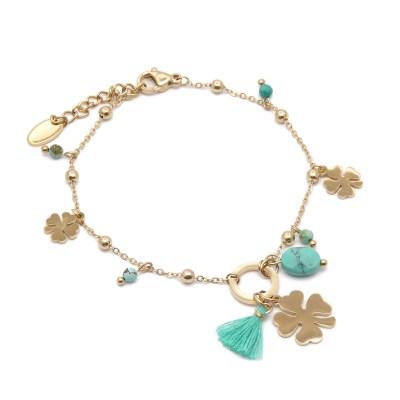 Bracelet trèfles turquoise