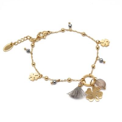 Bracelet trèfles gris