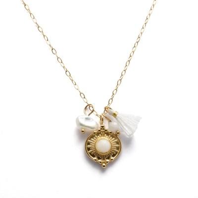 Collier pendentif jade blanc