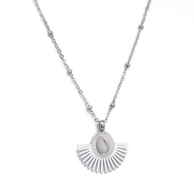 Collier pendentif Aurore blanc marbré