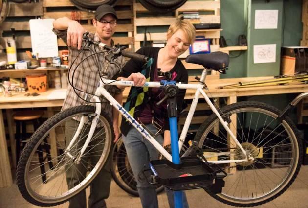 mark hall lindsay bean at revolutions bike shop photo