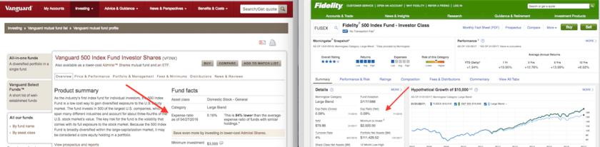 Vanguard and Fidelity Expense Ratios