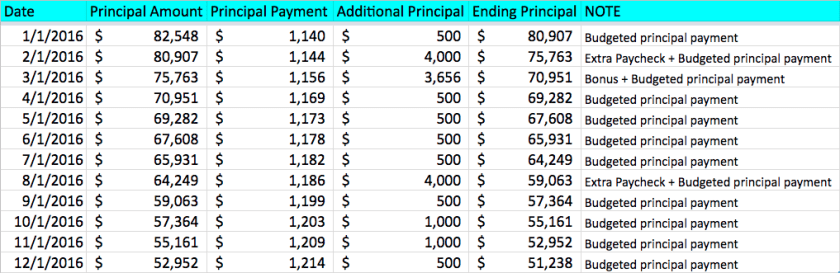 2016 Mortgage Pay Down Details