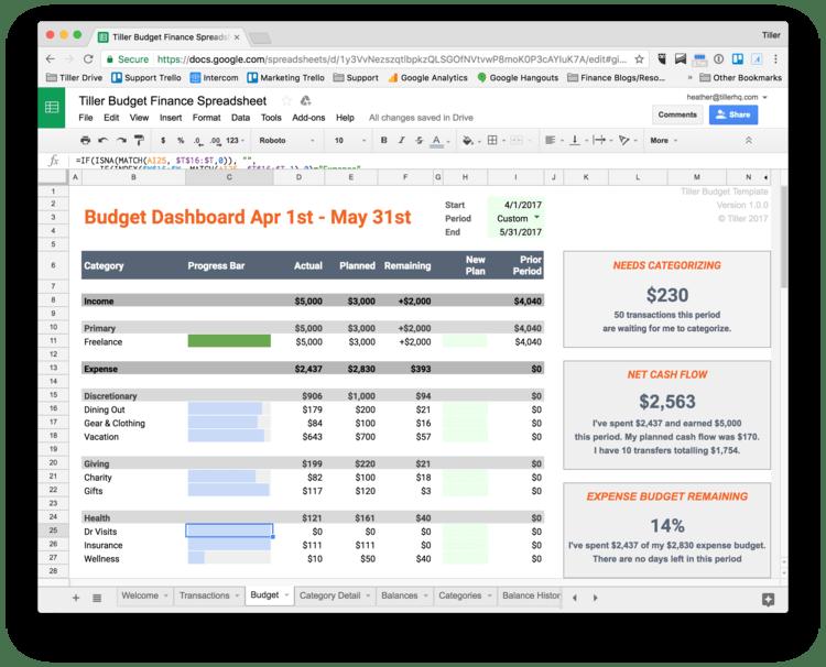 Tiller Budget Dashboard